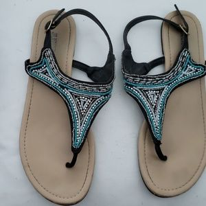 Turquoise and Black flat sandals